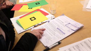 Deltagarna röstar med gula, gröna eller röda kort som syns i bild.